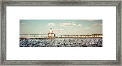 Saint Joseph Lighthouse Retro Panorama Photo Framed Print