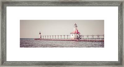 Saint Joseph Michigan Lighthouse Panorama Picture  Framed Print