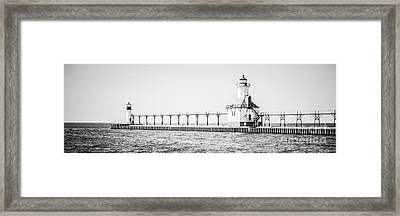 Saint Joseph Michigan Lighthouse Panoramic Photo Framed Print