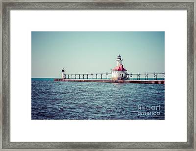 Saint Joseph Michigan Lighthouse Retro Picture  Framed Print