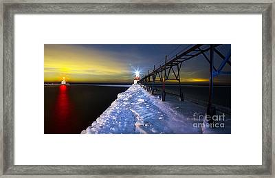 Saint Joseph Pier And Light Framed Print by Twenty Two North Photography