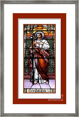 Saint Joseph  Stained Glass Window Framed Print