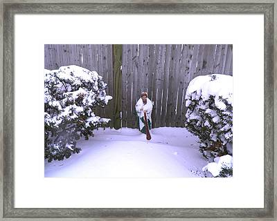 Saint Jude Barefoot In The Snow Framed Print