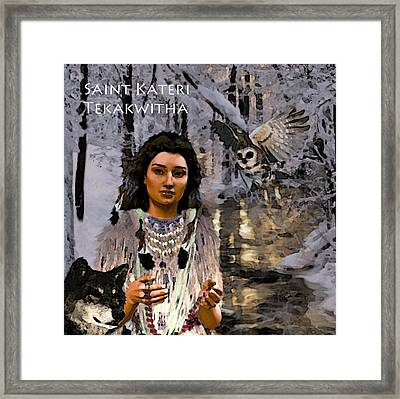 Framed Print featuring the painting Saint Kateri by Suzanne Silvir