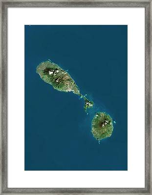 Saint Kitts And Nevis Framed Print by Planetobserver/science Photo Library
