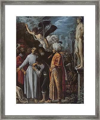 Saint Lawrence Prepared For Martyrdom, C. 1600-1 Oil On Copper Framed Print by Adam Elsheimer