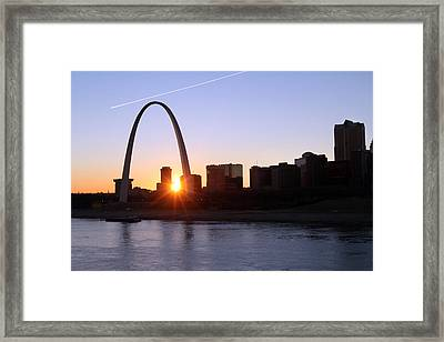 Saint Louis Arch Sunset Framed Print by David Yunker