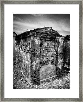 Saint Louis Cemetery No. 1 Brick Grave In Black And White Framed Print