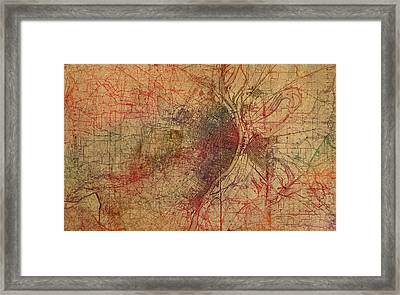 Saint Louis Missouri Street Map Schematic Watercolor On Old Parchment From 1903 Framed Print