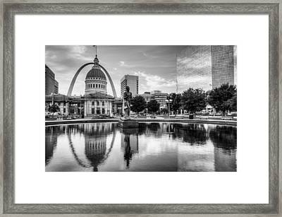 Saint Louis Reflections - Black And White Framed Print