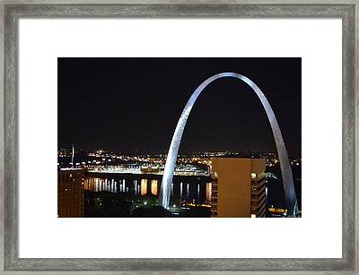 Saint Louis Skyline And Jefferson Expansion Arch Framed Print by Jeff at JSJ Photography