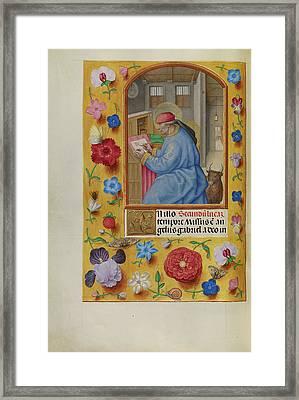 Saint Luke Workshop Of Master Of The First Prayer Book Framed Print