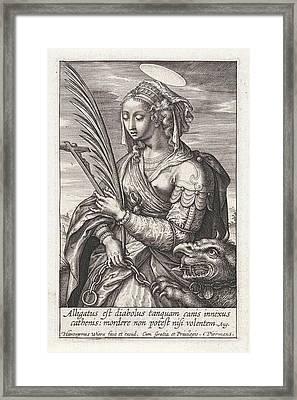 Saint Margaret Of Antioch, Hieronymus Wierix Framed Print by Hieronymus Wierix