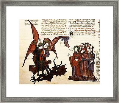 Saint Michael And Satan, 1430 Artwork Framed Print by Patrick Landmann