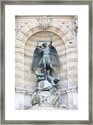 Saint Michael The Archangel In Paris Framed Print