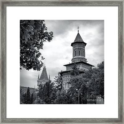 Saint Nicolae Church And Culture Palace Framed Print by Gabriela Insuratelu