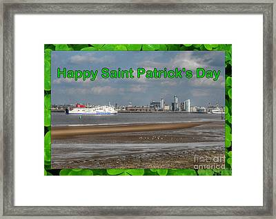 Saint Patrick's Greeting Across The Mersey Framed Print