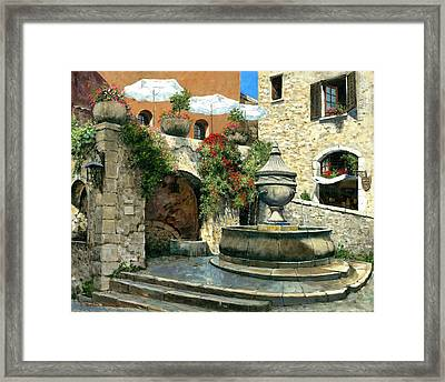 Saint Paul De Vence Fountain Framed Print by Michael Swanson