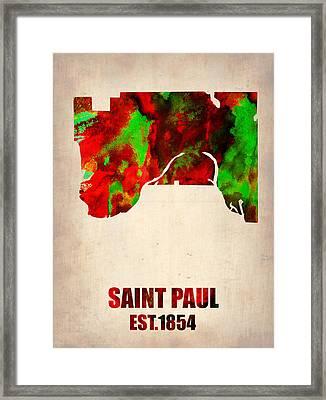 Saint Paul Watercolor Map Framed Print by Naxart Studio