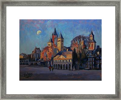 Saint Servaas Basilica In The Morning Framed Print