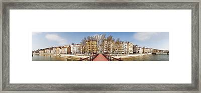 Saint Vincent Bridge Over The Saone Framed Print by Panoramic Images