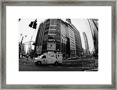 Saint Vincent Catholic Medical Centre Ambulance Crossing 6th Avenue And Broadway Framed Print by Joe Fox