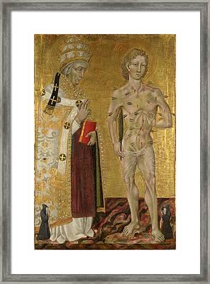 Saints Fabian And Sebastian Framed Print by Giovanni di Paolo