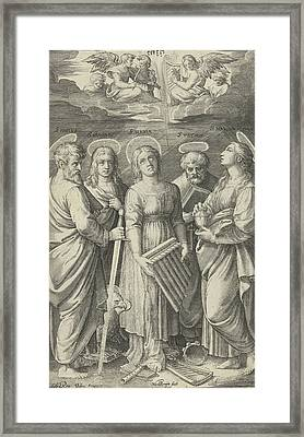 Saints Paul, John, Cecilia, Peter And Mary Magdalene Framed Print by Nicolaes De Bruyn And Marcantonio Raimondi