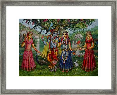 Sakhi Yugal Framed Print by Vrindavan Das