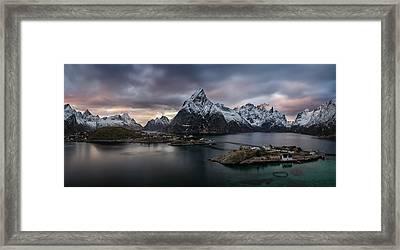 Sakrisoya Village On Reinefjorden Among Framed Print