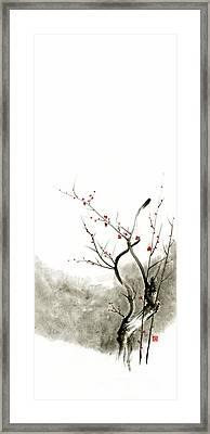 Sakura Cherry Blossom Pink And Red Flowers Tree Watercolor Original Ink Painting Framed Print by Mariusz Szmerdt