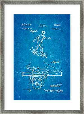 Sakwa Skateboard Brake Patent Art 1966 Blueprint Framed Print