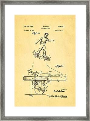 Sakwa Skateboard Brake Patent Art 1966 Framed Print by Ian Monk