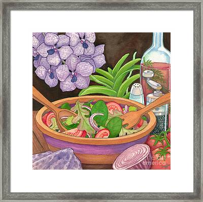 Salad And Orchids Framed Print by Tammy Yee