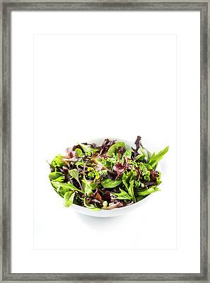 Salad Leaves In White Bowl Framed Print