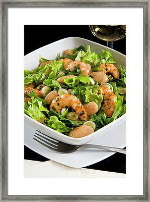 Salad With Shrimp, White Beans, Onions Framed Print