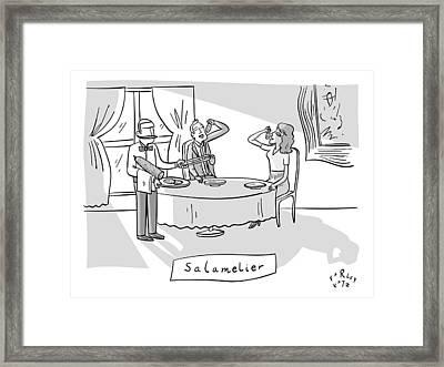 Salamlier -- A Waiter Slices Salami For Two Framed Print