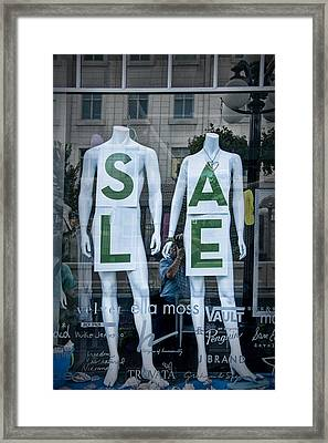 Sale In Window Display With Mannequins In Toronto Framed Print