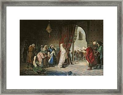 Salida Del Boabdil, At The Alhambra Oil On Canvas Framed Print