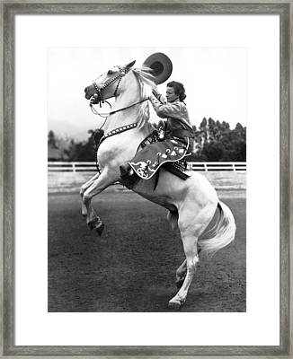 Salinas Rodeo Cowgirl Framed Print by Underwood Archives