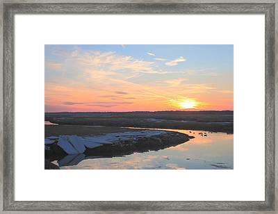 Salisbury Beach Late Winter Sunset Framed Print by John Burk