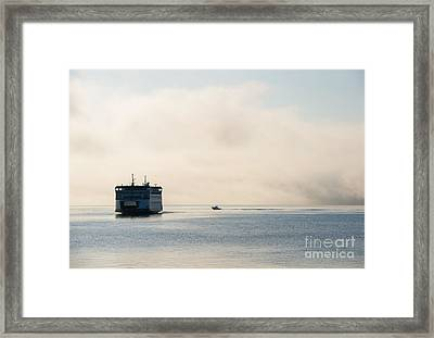 Salish Into The Fog Framed Print by Mike  Dawson