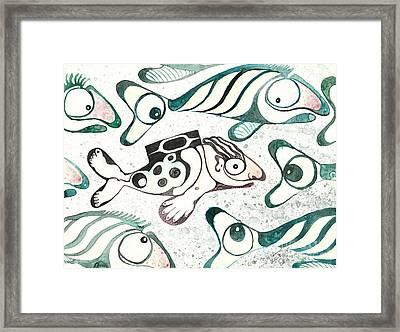 Salmon Boy The Swimmer Framed Print by Melinda Dare Benfield