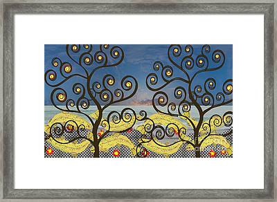 Framed Print featuring the digital art Salmon Dance Blue by Kim Prowse