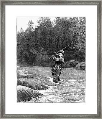 Salmon Fishing, 1885 Framed Print