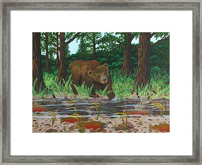 Salmon Fishing Framed Print by Katherine Young-Beck
