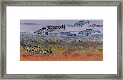 Salmon In The Stream Framed Print