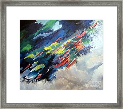 Framed Print featuring the painting Salmon Run by Carol Sweetwood