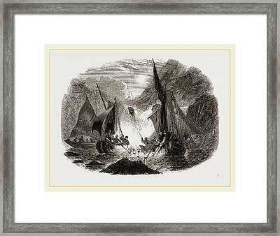 Salmon-spearing By Torchlight Framed Print by Litz Collection