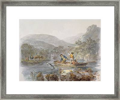 Salmon Spearing Graphite, Ink & Wc On Paper Framed Print by Julius Caesar Ibbetson